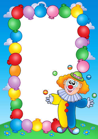 cartoon clown: Party invitation frame with clown 4 - color illustration.