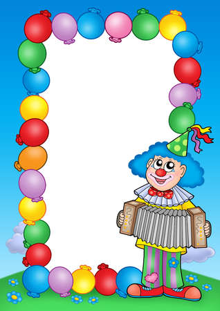 Party invitation frame with clown 6 - color illustration. illustration