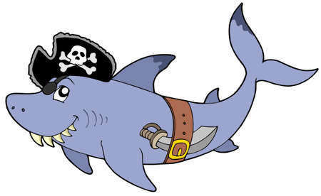Cartoon pirate shark - vector illustration.