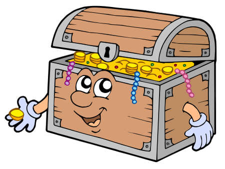 Cartoon treasure chest - vector illustration.