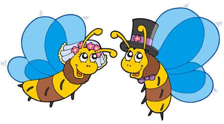 Honey bees wedding couple - vector illustration. Vector