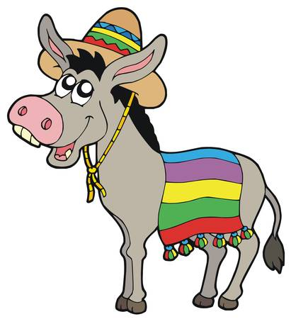 Mexican donkey with sombrero - vector illustration. Vector