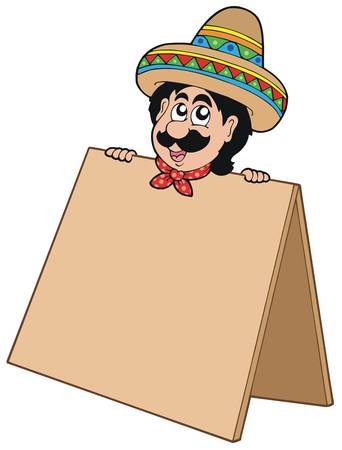 Mexican man with table - vector illustration. Vector