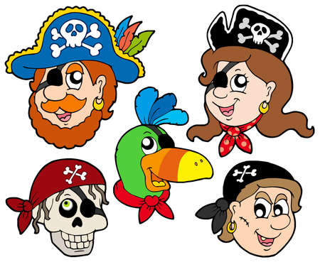 eyepatch: Pirate characters collection - vector illustration. Illustration