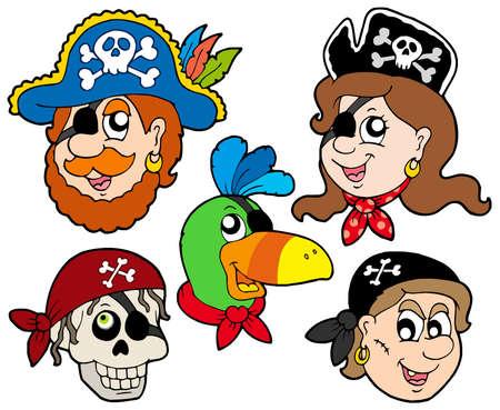 scar: Pirate tekens collectie - vector illustration. Stock Illustratie