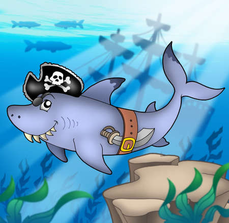 gills: Cartoon pirate shark with shipwreck - color illustration.