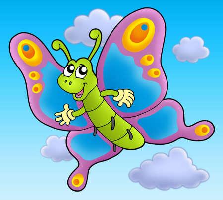 cartoon butterfly: Mariposa de dibujos animados Lindo cielo - ilustraci�n en color.