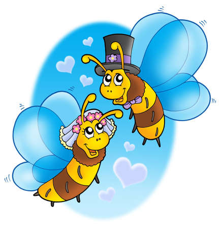 Honey bees wedding on sky - color illustration. illustration