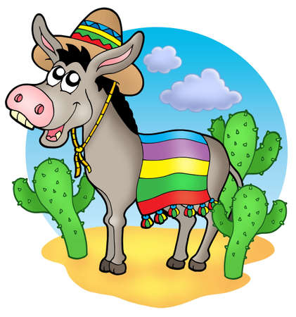Mexican donkey in desert - color illustration. Stock Photo