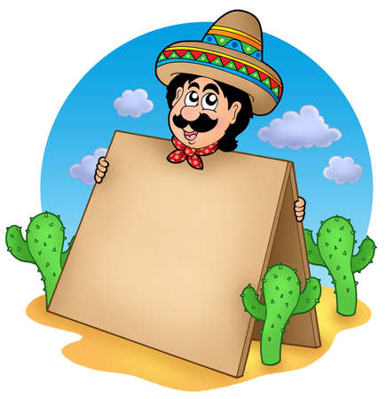 Mexican man with table in desert - color illustration. illustration