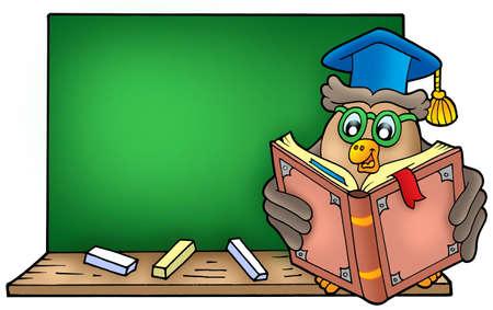 Owl teacher reading book on blackboard - color illustration. illustration
