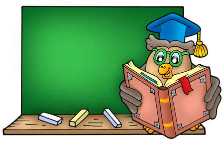 blackboard cartoon: Owl teacher reading book on blackboard - color illustration.