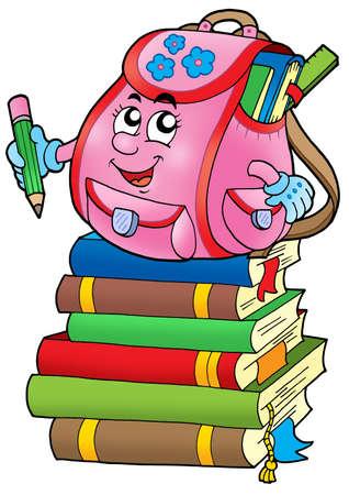 teaching crayons: Rosa scuola sacco su libri - illustrazione a colori.