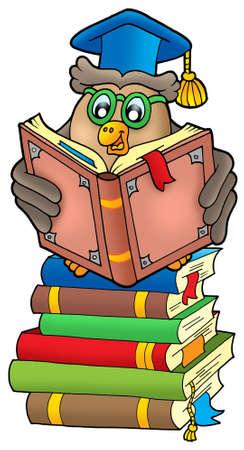 Reading owl teacher on books - color illustration. illustration