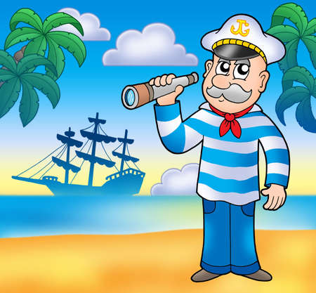 sailor hat: Sailor with spyglass on beach - color illustration.