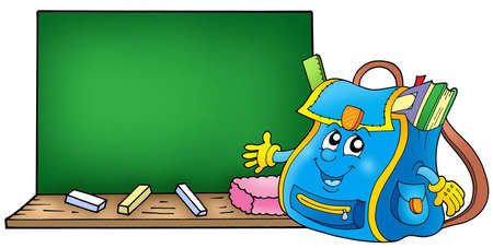 School bag with blackboard - color illustration. Stock Illustration - 4700632
