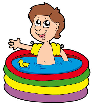 inflatable: Boy in inflatable pool - vector illustration.