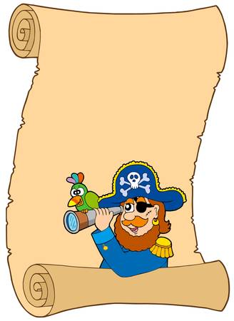 Parchment with pirate and spyglass - vector illustration. Illustration