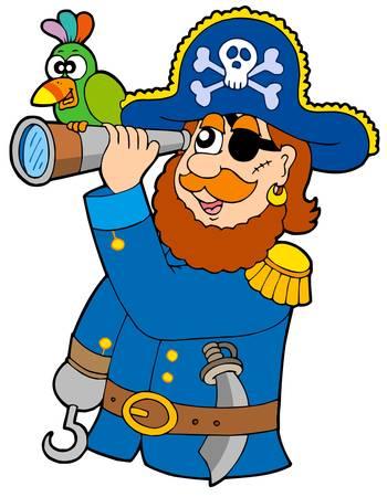 piratenhoed: Piraat met verrekijker en papegaai - vector illustratie.