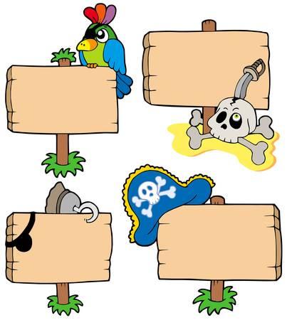 filibuster: Pirata legno segni raccolta - illustrazione vettoriale. Vettoriali