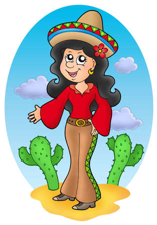 Cute Mexican girl in desert - color illustration. Stock Photo