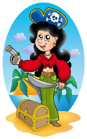 Cute pirate girl with treasure chest - color illustration. Stock Illustration - 4743345