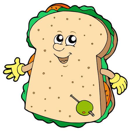 Cartoon sandwich on white background - vector illustration.