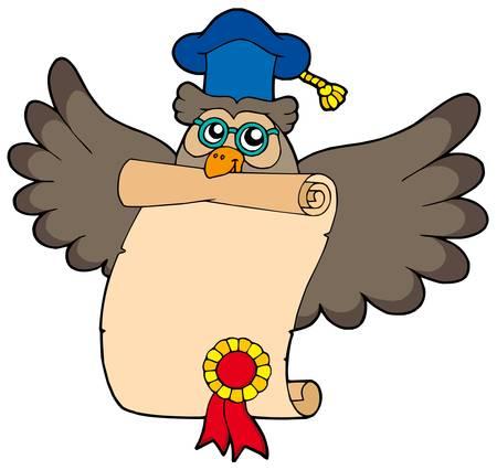 Owl teacher with diploma - vector illustration. Vector