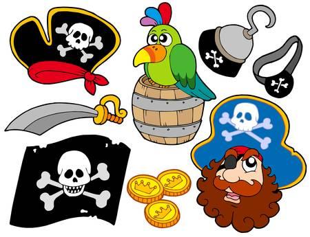 filibuster: Pirata raccolta 8 su sfondo bianco - illustrazione vettoriale. Vettoriali