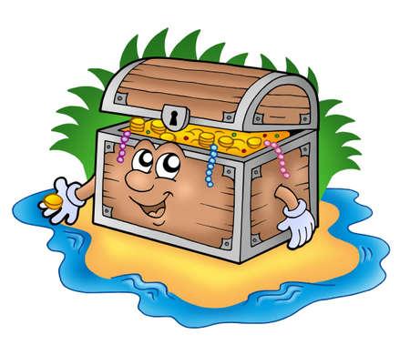 treasure chest: Cartoon treasure chest on island - color illustration.