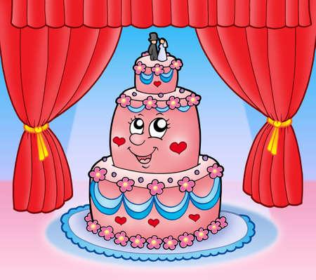 Cartoon wedding cake with curtains - color illustration. illustration