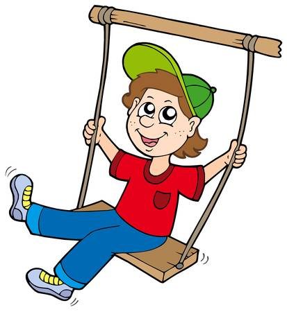 Boy on swing - vector illustration. Illustration