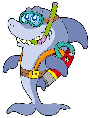 Shark scuba diver - vector illustration. Vector