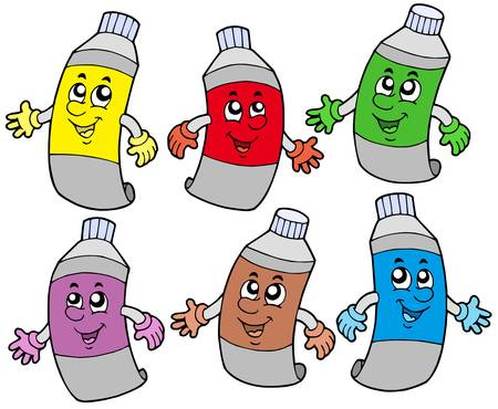 paint container: Various colors tubes - vector illustration. Illustration