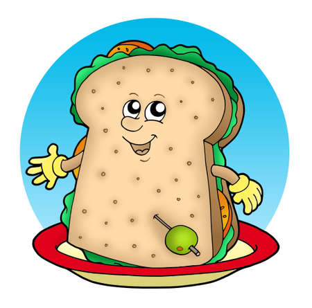 Cartoon sandwich on plate - color illustration.