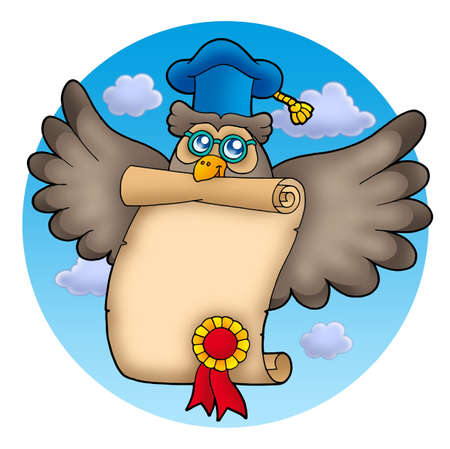 flying hat: Owl teacher with diploma on sky - color illustration. Stock Photo