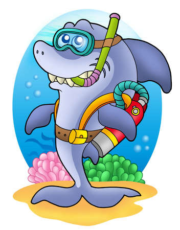 diving mask: Shark scuba diver on sea bottom - color illustration.