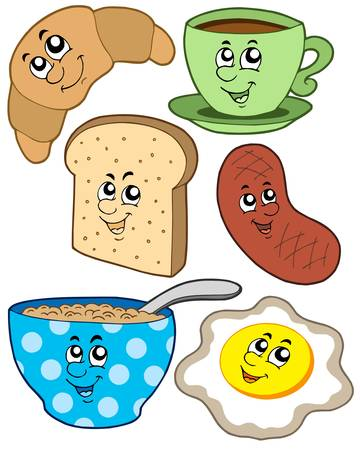cartoon food: Cartoon breakfast collection - vector illustration.