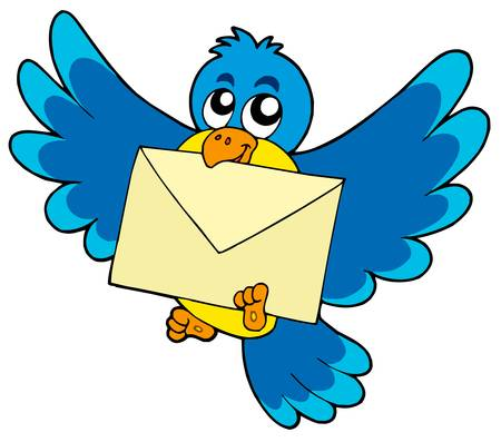 Cute bird with envelope - vector illustration.