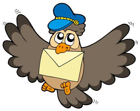 Owl postman with letter - vector illustration. Stock Vector - 4791480