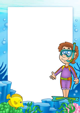 Frame with snorkel diver 2 - color illustration.