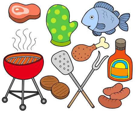 protective gloves: Barbeque collection on white background - vector illustration.