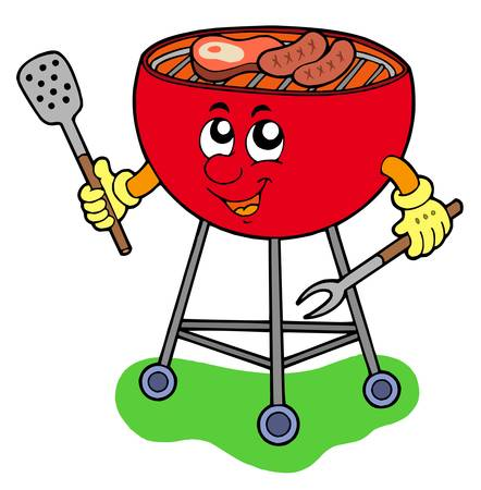 Cartoon barbeque on white background - vector illustration.