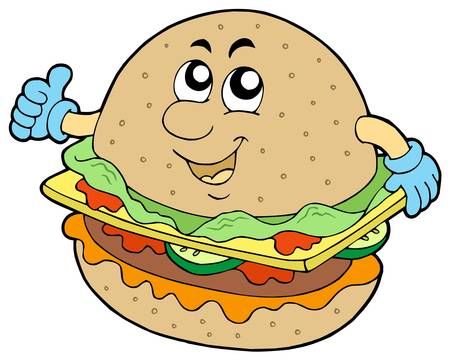 Cartoon hamburger on white background - vector illustration.