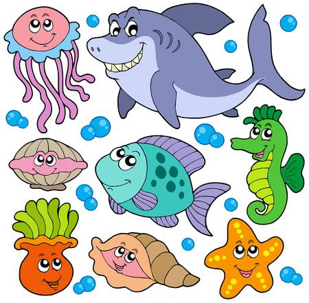 Aquatic animals collection - vector illustration. Vector