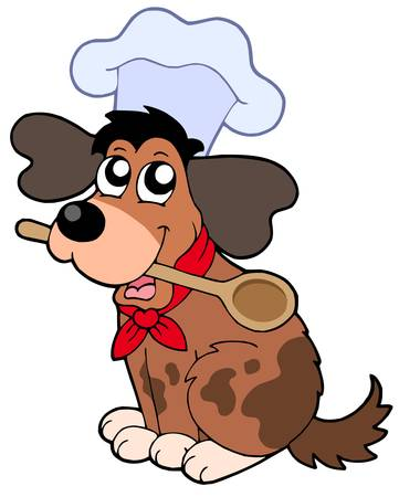 Cartoon dog chef with spoon - vector illustration. Vector