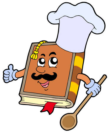Cartoon recipe book - vector illustration. Illustration