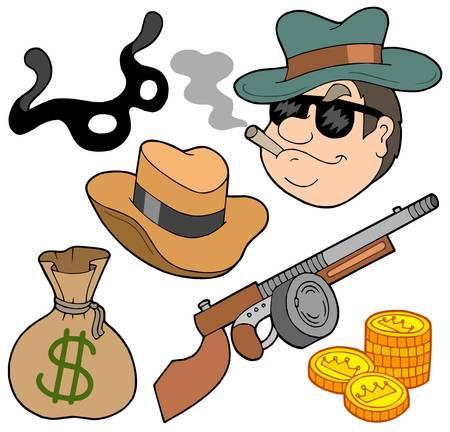 gangster with gun: Gangster recogida en el fondo blanco - ilustraci�n vectorial. Vectores