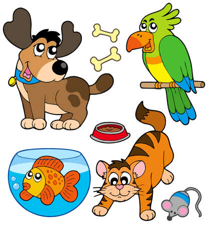 Cartoon pets collection - vector illustration.