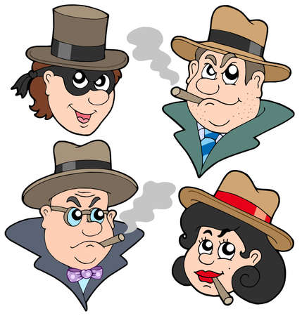 Gangster faces collection - vector illustration.